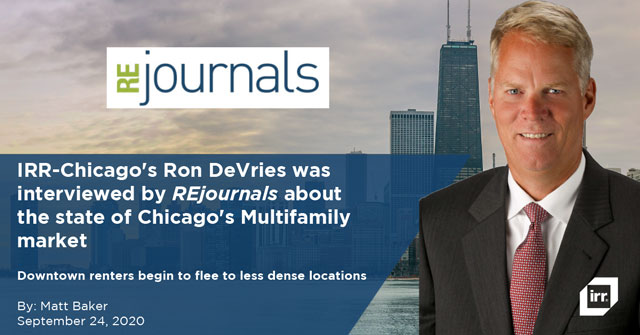 IRR-Chicago's Ron DeVries was interviewed by REjournals about the state of Chicago's Multifamily market